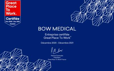 BOW MEDICAL a été certifiée Great Place to Work ce mois de décembre 2020